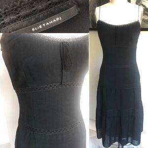 ELIE TAHARI spaghetti strap tiered dress